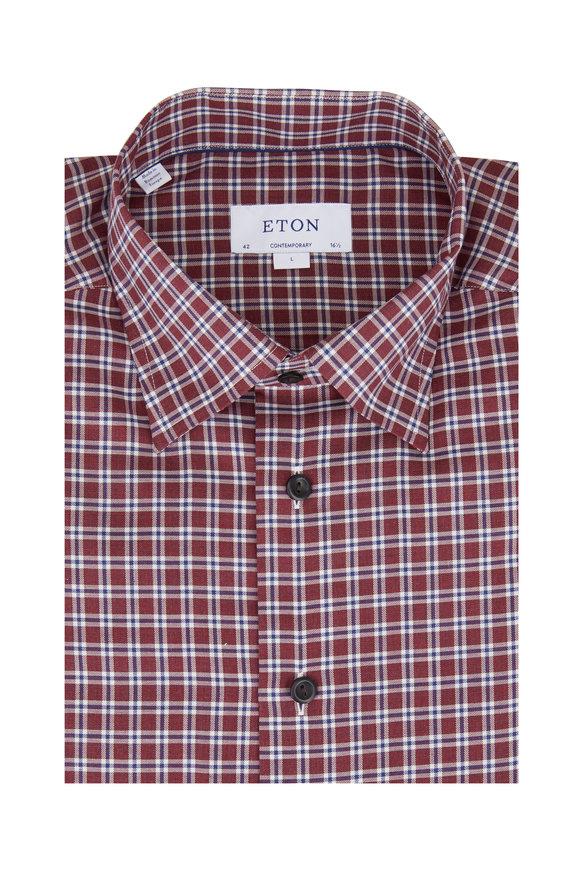 Eton Dark Red Plaid Twill Contemporary Fit Dress Shirt