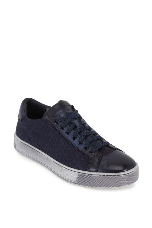 Santoni Moon Navy Blue Canvas & Leather Sneaker