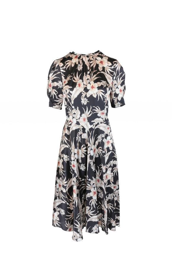 Altuzarra Oyster Floral Print Silk Short Sleeve Dress