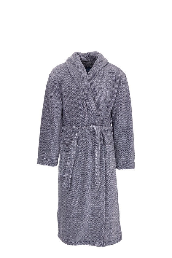 Majestic Navy Herringbone Plush Fleece Robe