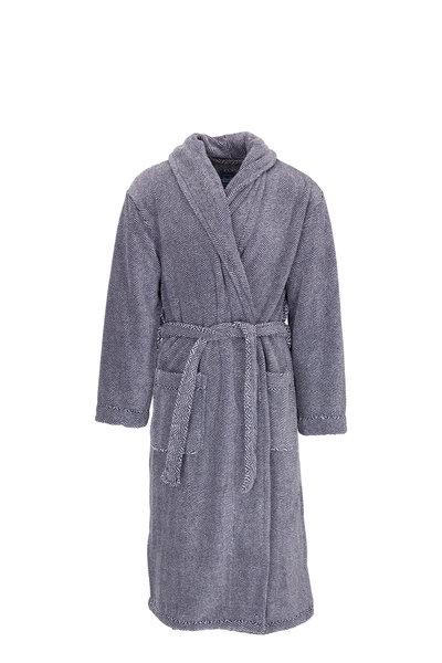 Majestic - Navy Herringbone Plush Fleece Robe