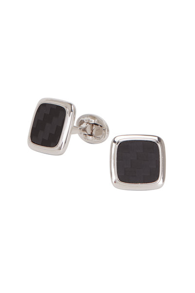 Jan Leslie - Sterling Silver Carbon Fiber Square Cufflinks