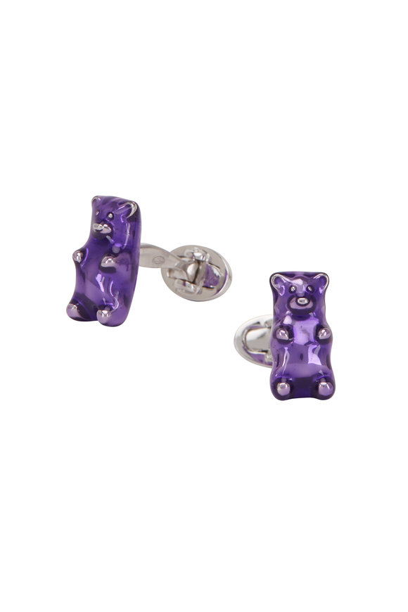 Jan Leslie Sterling Silver Purple Gummy Bear Cufflinks