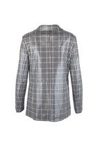 Giorgio Armani - Black & Blush Plaid Laminated Wool Blend Jacket