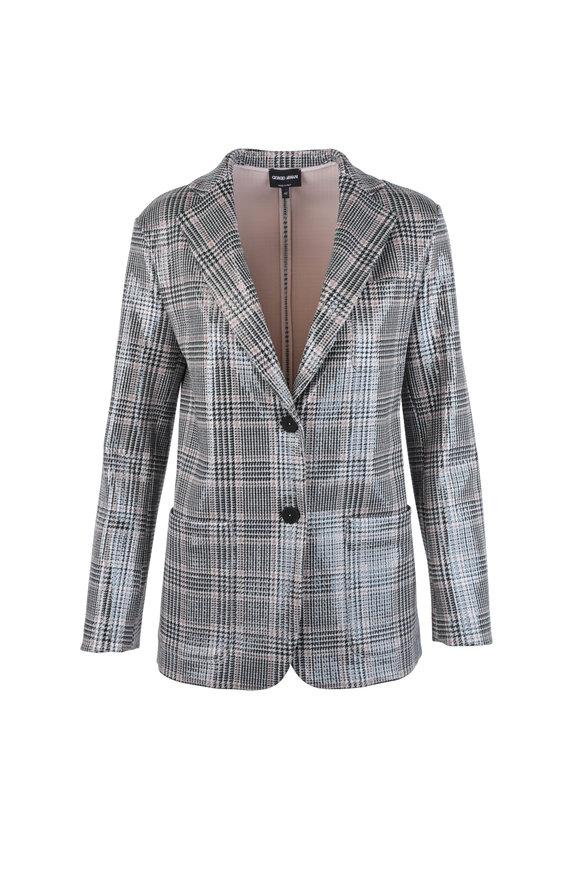 Giorgio Armani Black & Blush Plaid Laminated Wool Blend Jacket