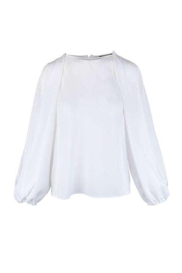 Giorgio Armani White Silk Poet Sleeve Blouse