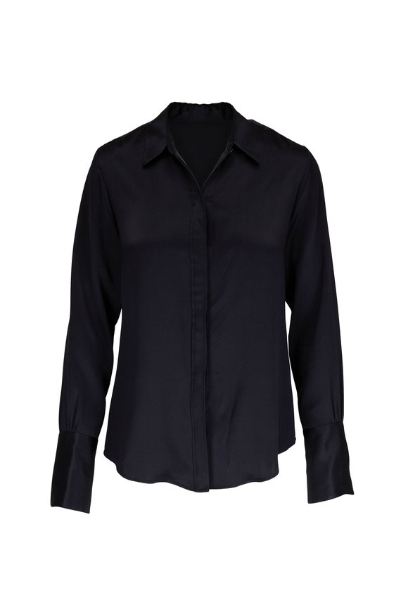 Nili Lotan Lleida Black Silk Button Down Shirt