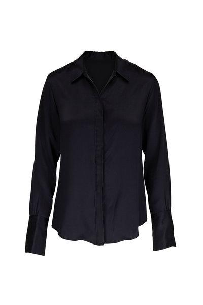 Nili Lotan - Lleida Black Silk Button Down Shirt