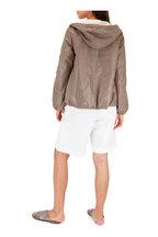 Brunello Cucinelli - Gray Metallic Textured Leather Criss-Cross Sandal