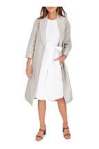 Brunello Cucinelli - Silver Linen Lurex Long Belted Coat