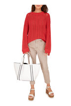 Brunello Cucinelli - Exclusively Ours! Red Cotton Lurex Sweater