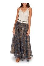 Brunello Cucinelli - Blue & Tan Silk Botanical Print Midi Skirt