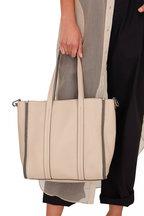 Brunello Cucinelli - Beige Leather Monili Trim Small Shopper Tote