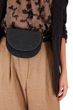 Brunello Cucinelli - Black Raffia & Monili Small Belt Or Crossbody Bag