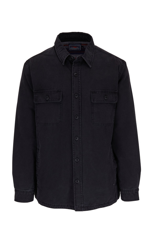 Faherty Brand Washed Black Cotton Front Button Jacket