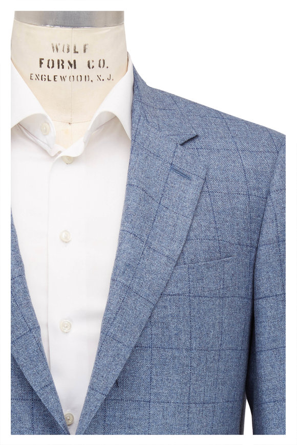 Canali Light Blue Windowpane Cashmere Blend Sportcoat