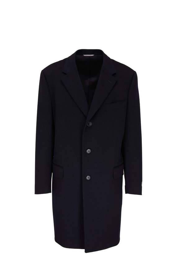 Canali Classic Navy Wool & Cashmere Topcoat
