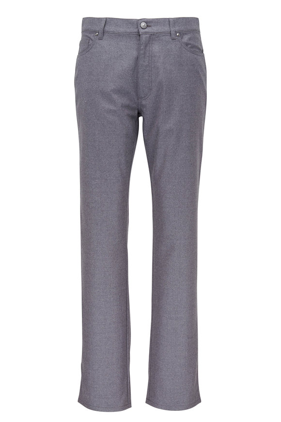 Ermenegildo Zegna Light Gray Wool Flannel Five Pocket Pant