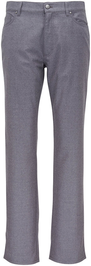 Ermenegildo Zegna Light Gray Wool Flannel Five Pocket Pant