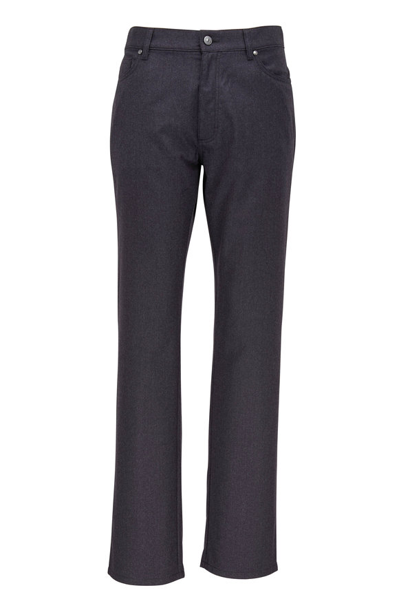 Ermenegildo Zegna Charcoal Gray Wool Five Pocket Pant