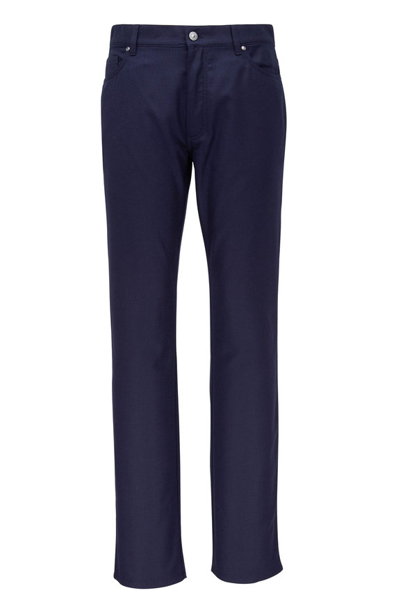 Ermenegildo Zegna Navy Blue Wool Flannel Five Pocket Pant