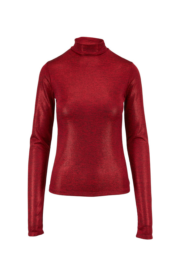 Andamane Red Metallic Mock Neck Top