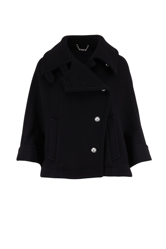 Chloé Black Stretch Wool Button Front Cape