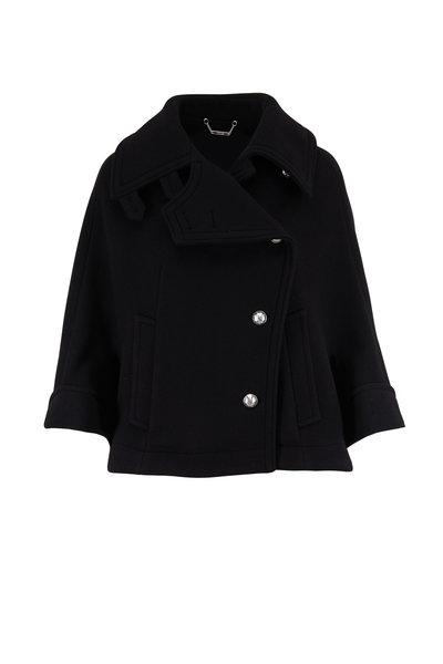 Chloé - Black Stretch Wool Button Front Cape