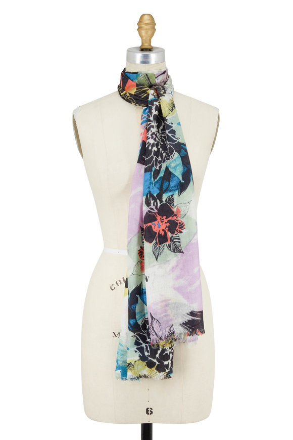 Kinross Multicolor Monterossa Floral Print Scarf