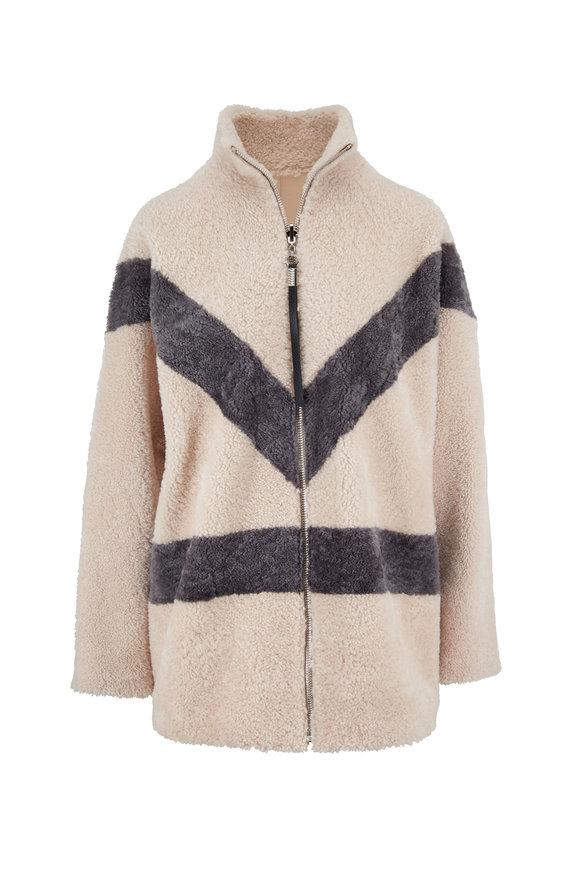 Viktoria Stass Ivory & Gray Shearling & Leather Reversible Jacket