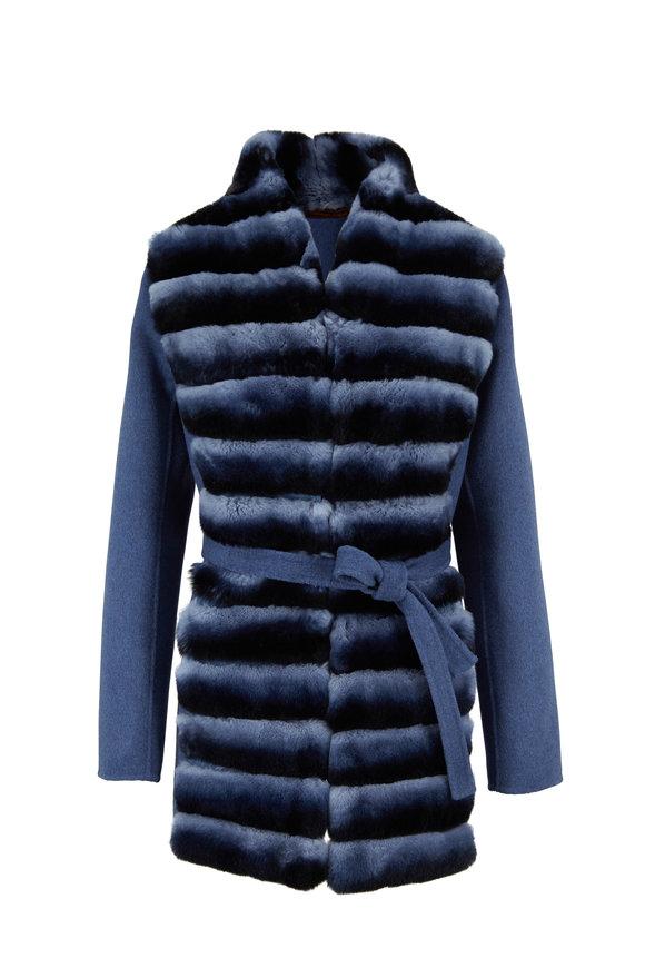 Viktoria Stass Denim Blue Merino Wool & Rex Rabbit Belted Jacket