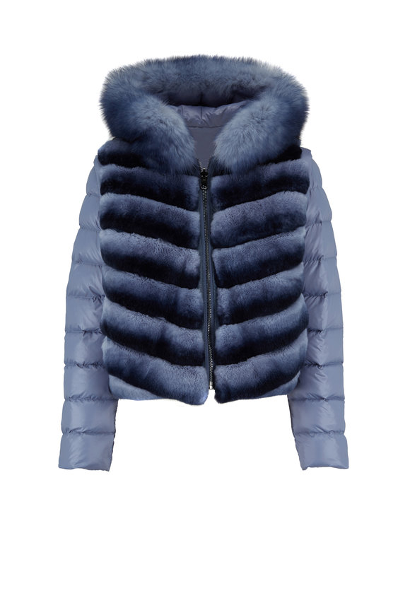 Viktoria Stass Denim Blue Rabbit & Fox Reversible Puffer Jacket