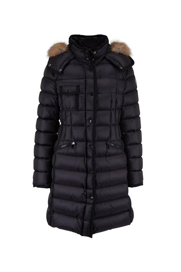 Moncler Hermifur Black Fur Trim Hood Puffer Coat