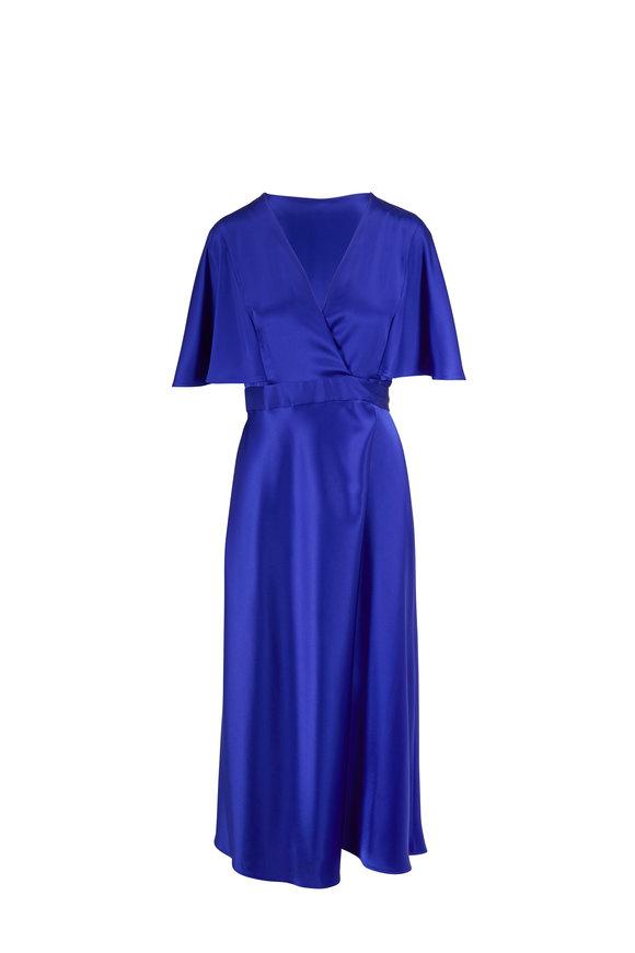 Escada Dammeriah Dark Cobalt Cape-Sleeve Wrap Dress