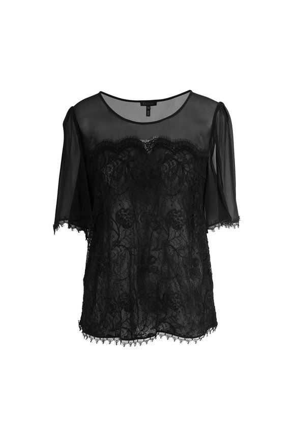 Escada Naddi Black Flutter Sleeve Lace Top