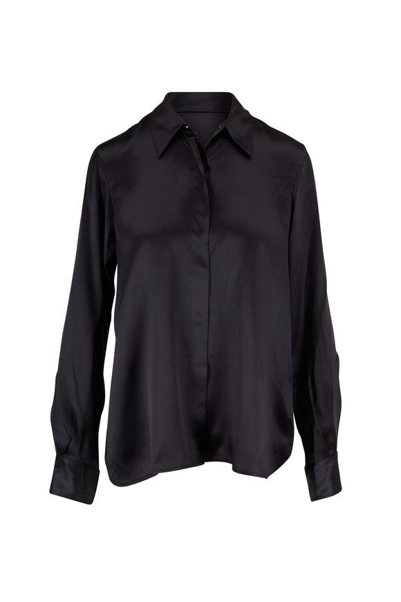 Lareida Blondie Black Silk Button Down Blouse