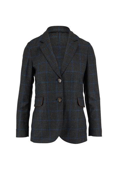 Rani Arabella - Green & Navy Leather Trim Plaid Jacket