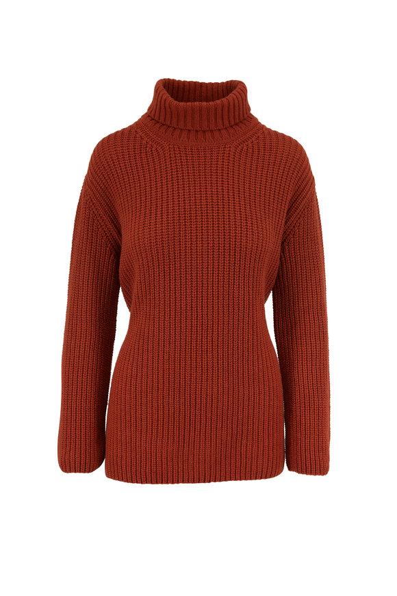 Fendi Rust Cashmere Turtleneck Sweater With Sash