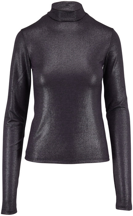 Andamane Gray Metallic Mock Neck Top