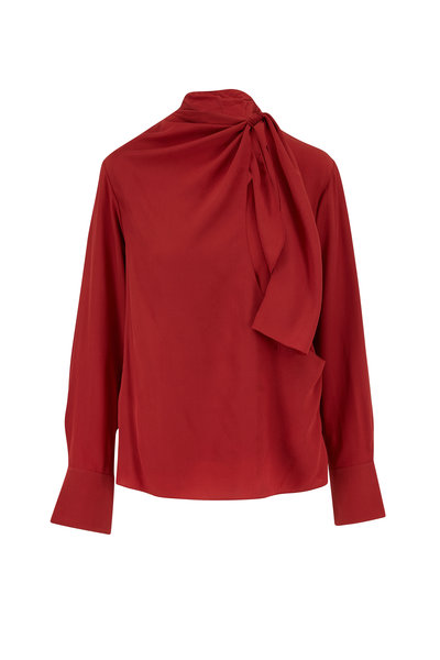 Chloé - Peppery Red Crepe De Chine Tie Neck Blouse