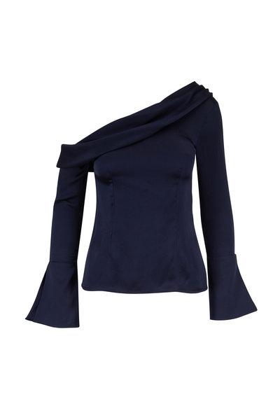 Safiyaa - Midnight Hammered Silk One Shoulder Top