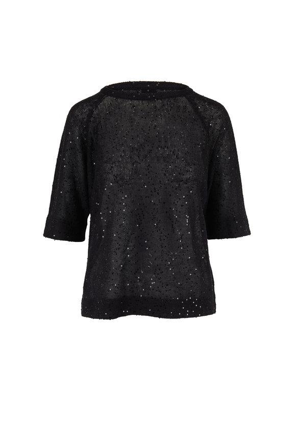 Brunello Cucinelli Black Linen & Silk Paillette Crewneck Sweater