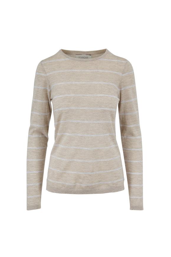 Kinross Biscotti & Grigio Worsted Stripe Crewneck Sweater