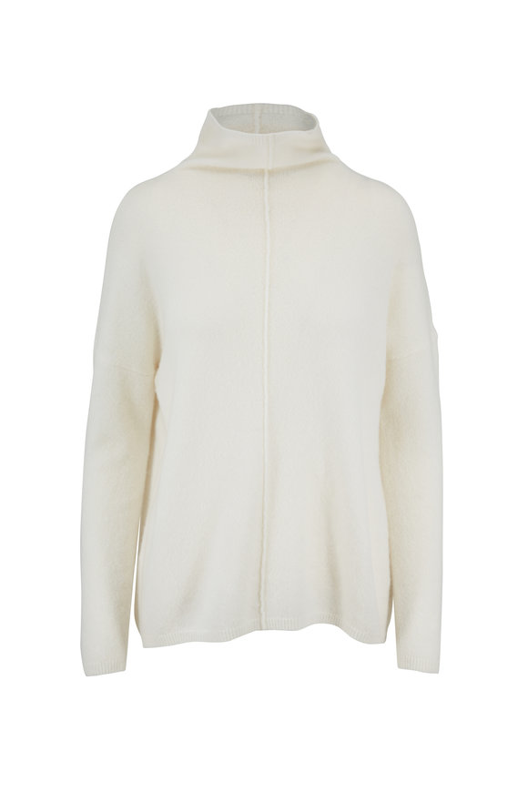 Kinross Bianco Relaxed Bouclé Funnel Neck Sweater