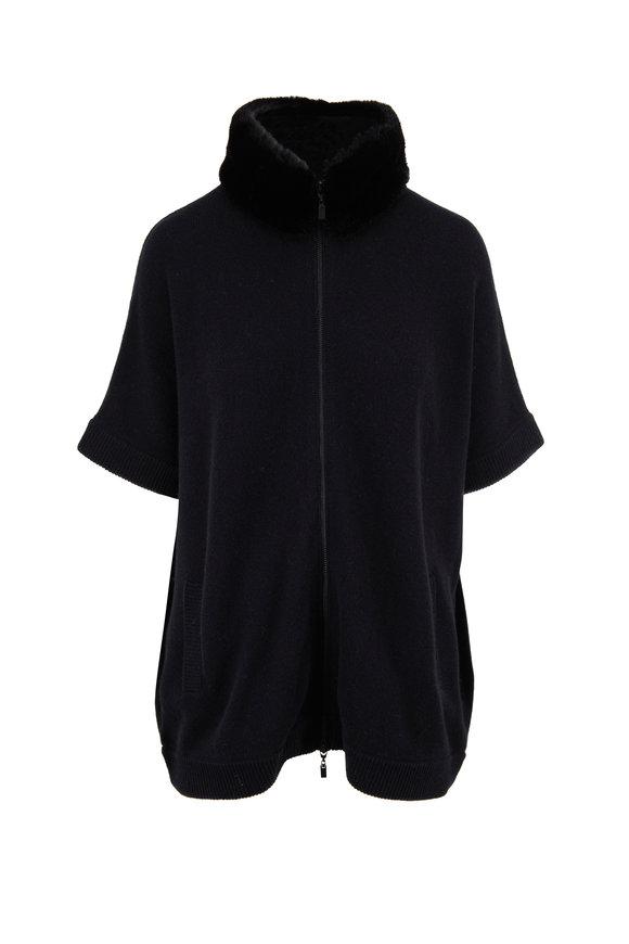 Kinross Black Faux Fur Mock Neck Zip Front Cardigan