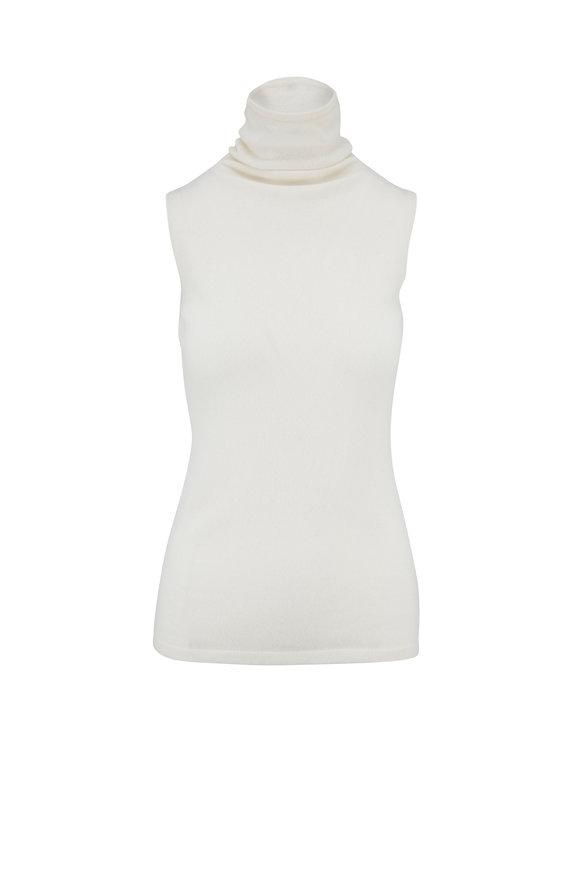 Kinross Bianco Sleeveless Funnel Neck Sweater