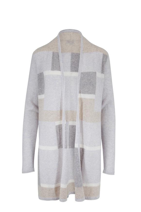 Kinross Grigio Multi Intarsia Striped Cashmere Cardigan