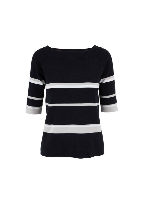 Kinross Black Multi Stripe Cotton Square Neck Top