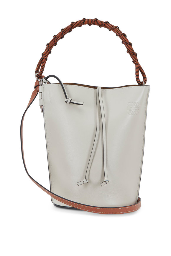 Loewe White Leather Woven Handle Bucket Bag