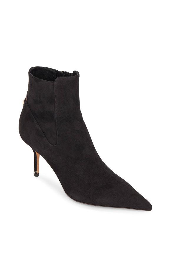 Valentino Garavani Rockstud Black Suede Ankle Boot, 80mm